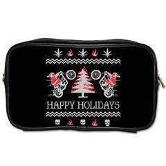 Motorcycle Santa Happy Holidays Ugly Christmas Black Background Toiletries Bags