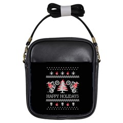 Motorcycle Santa Happy Holidays Ugly Christmas Black Background Girls Sling Bags
