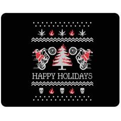 Motorcycle Santa Happy Holidays Ugly Christmas Black Background Fleece Blanket (Medium)
