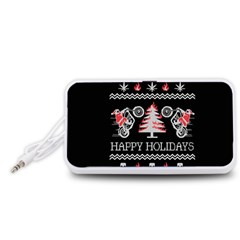 Motorcycle Santa Happy Holidays Ugly Christmas Black Background Portable Speaker (White)