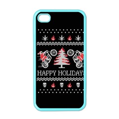 Motorcycle Santa Happy Holidays Ugly Christmas Black Background Apple iPhone 4 Case (Color)