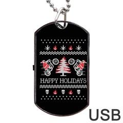Motorcycle Santa Happy Holidays Ugly Christmas Black Background Dog Tag USB Flash (One Side)