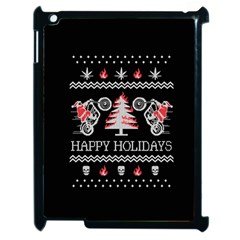 Motorcycle Santa Happy Holidays Ugly Christmas Black Background Apple iPad 2 Case (Black)