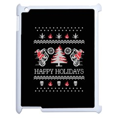 Motorcycle Santa Happy Holidays Ugly Christmas Black Background Apple iPad 2 Case (White)