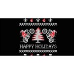 Motorcycle Santa Happy Holidays Ugly Christmas Black Background Twin Heart Bottom 3D Greeting Card (8x4) Front