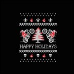 Motorcycle Santa Happy Holidays Ugly Christmas Black Background Twin Heart Bottom 3D Greeting Card (8x4) Inside