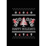 Motorcycle Santa Happy Holidays Ugly Christmas Black Background Get Well 3D Greeting Card (7x5) Inside