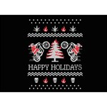 Motorcycle Santa Happy Holidays Ugly Christmas Black Background Get Well 3D Greeting Card (7x5) Back