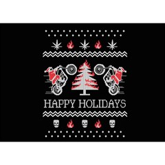 Motorcycle Santa Happy Holidays Ugly Christmas Black Background Birthday Cake 3D Greeting Card (7x5)