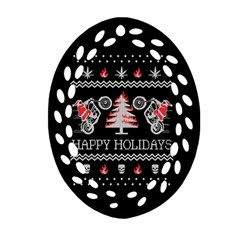 Motorcycle Santa Happy Holidays Ugly Christmas Black Background Ornament (Oval Filigree)