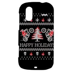 Motorcycle Santa Happy Holidays Ugly Christmas Black Background HTC Amaze 4G Hardshell Case