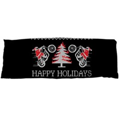 Motorcycle Santa Happy Holidays Ugly Christmas Black Background Body Pillow Case (Dakimakura)