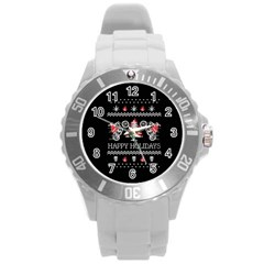 Motorcycle Santa Happy Holidays Ugly Christmas Black Background Round Plastic Sport Watch (L)