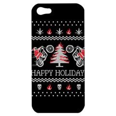 Motorcycle Santa Happy Holidays Ugly Christmas Black Background Apple iPhone 5 Hardshell Case