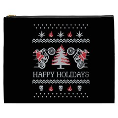 Motorcycle Santa Happy Holidays Ugly Christmas Black Background Cosmetic Bag (XXXL)