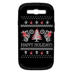 Motorcycle Santa Happy Holidays Ugly Christmas Black Background Samsung Galaxy S III Hardshell Case (PC+Silicone)