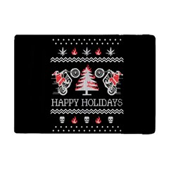 Motorcycle Santa Happy Holidays Ugly Christmas Black Background Apple iPad Mini Flip Case