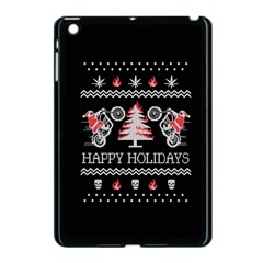Motorcycle Santa Happy Holidays Ugly Christmas Black Background Apple iPad Mini Case (Black)