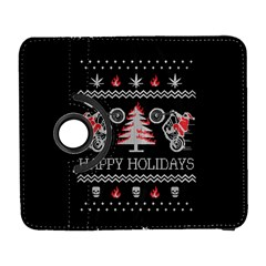 Motorcycle Santa Happy Holidays Ugly Christmas Black Background Samsung Galaxy S  III Flip 360 Case