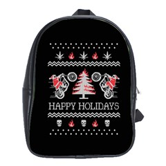 Motorcycle Santa Happy Holidays Ugly Christmas Black Background School Bags (XL)