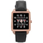 Motorcycle Santa Happy Holidays Ugly Christmas Black Background Rose Gold Leather Watch  Front