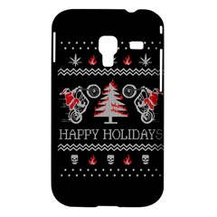 Motorcycle Santa Happy Holidays Ugly Christmas Black Background Samsung Galaxy Ace Plus S7500 Hardshell Case
