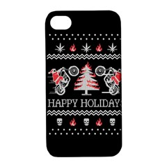 Motorcycle Santa Happy Holidays Ugly Christmas Black Background Apple iPhone 4/4S Hardshell Case with Stand