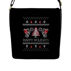 Motorcycle Santa Happy Holidays Ugly Christmas Black Background Flap Messenger Bag (L)