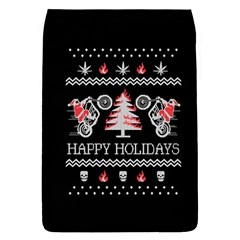 Motorcycle Santa Happy Holidays Ugly Christmas Black Background Flap Covers (L)