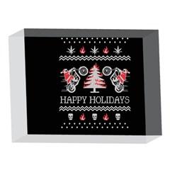 Motorcycle Santa Happy Holidays Ugly Christmas Black Background 5 x 7  Acrylic Photo Blocks