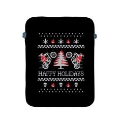 Motorcycle Santa Happy Holidays Ugly Christmas Black Background Apple iPad 2/3/4 Protective Soft Cases