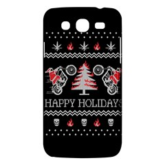 Motorcycle Santa Happy Holidays Ugly Christmas Black Background Samsung Galaxy Mega 5.8 I9152 Hardshell Case