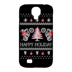 Motorcycle Santa Happy Holidays Ugly Christmas Black Background Samsung Galaxy S4 Classic Hardshell Case (PC+Silicone)