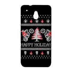 Motorcycle Santa Happy Holidays Ugly Christmas Black Background HTC One Mini (601e) M4 Hardshell Case