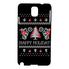 Motorcycle Santa Happy Holidays Ugly Christmas Black Background Samsung Galaxy Note 3 N9005 Hardshell Case