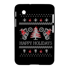 Motorcycle Santa Happy Holidays Ugly Christmas Black Background Samsung Galaxy Tab 2 (7 ) P3100 Hardshell Case