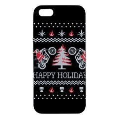 Motorcycle Santa Happy Holidays Ugly Christmas Black Background iPhone 5S/ SE Premium Hardshell Case