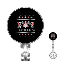 Motorcycle Santa Happy Holidays Ugly Christmas Black Background Stainless Steel Nurses Watch