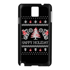 Motorcycle Santa Happy Holidays Ugly Christmas Black Background Samsung Galaxy Note 3 N9005 Case (Black)