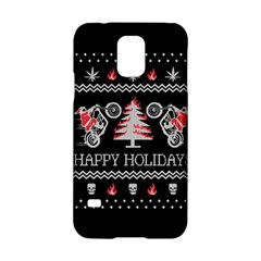 Motorcycle Santa Happy Holidays Ugly Christmas Black Background Samsung Galaxy S5 Hardshell Case