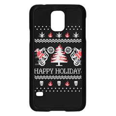 Motorcycle Santa Happy Holidays Ugly Christmas Black Background Samsung Galaxy S5 Case (Black)
