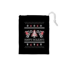 Motorcycle Santa Happy Holidays Ugly Christmas Black Background Drawstring Pouches (Small)