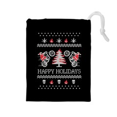Motorcycle Santa Happy Holidays Ugly Christmas Black Background Drawstring Pouches (Large)