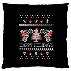 Motorcycle Santa Happy Holidays Ugly Christmas Black Background Large Flano Cushion Case (One Side)