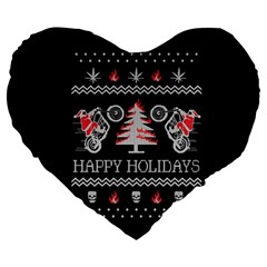Motorcycle Santa Happy Holidays Ugly Christmas Black Background Large 19  Premium Flano Heart Shape Cushions