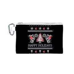 Motorcycle Santa Happy Holidays Ugly Christmas Black Background Canvas Cosmetic Bag (S)