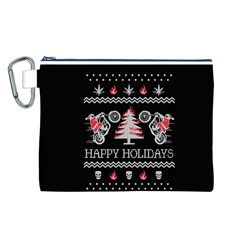 Motorcycle Santa Happy Holidays Ugly Christmas Black Background Canvas Cosmetic Bag (L)