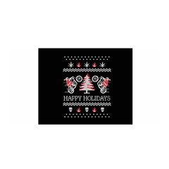 Motorcycle Santa Happy Holidays Ugly Christmas Black Background Satin Wrap