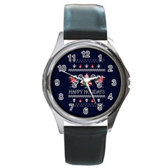 Motorcycle Santa Happy Holidays Ugly Christmas Blue Background Round Metal Watch