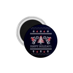 Motorcycle Santa Happy Holidays Ugly Christmas Blue Background 1.75  Magnets